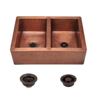 All-in-One Farmhouse Apron Front Copper 35 in. Double Bowl Kitchen Sink