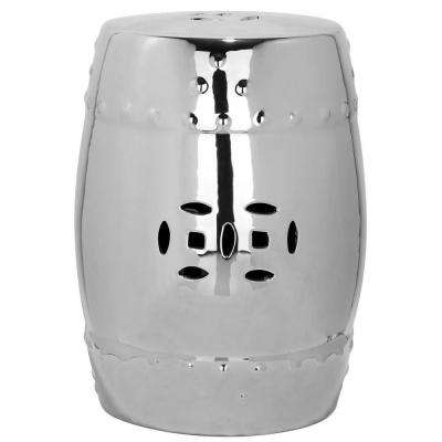 Modern Ming Silver Ceramic Patio Stool