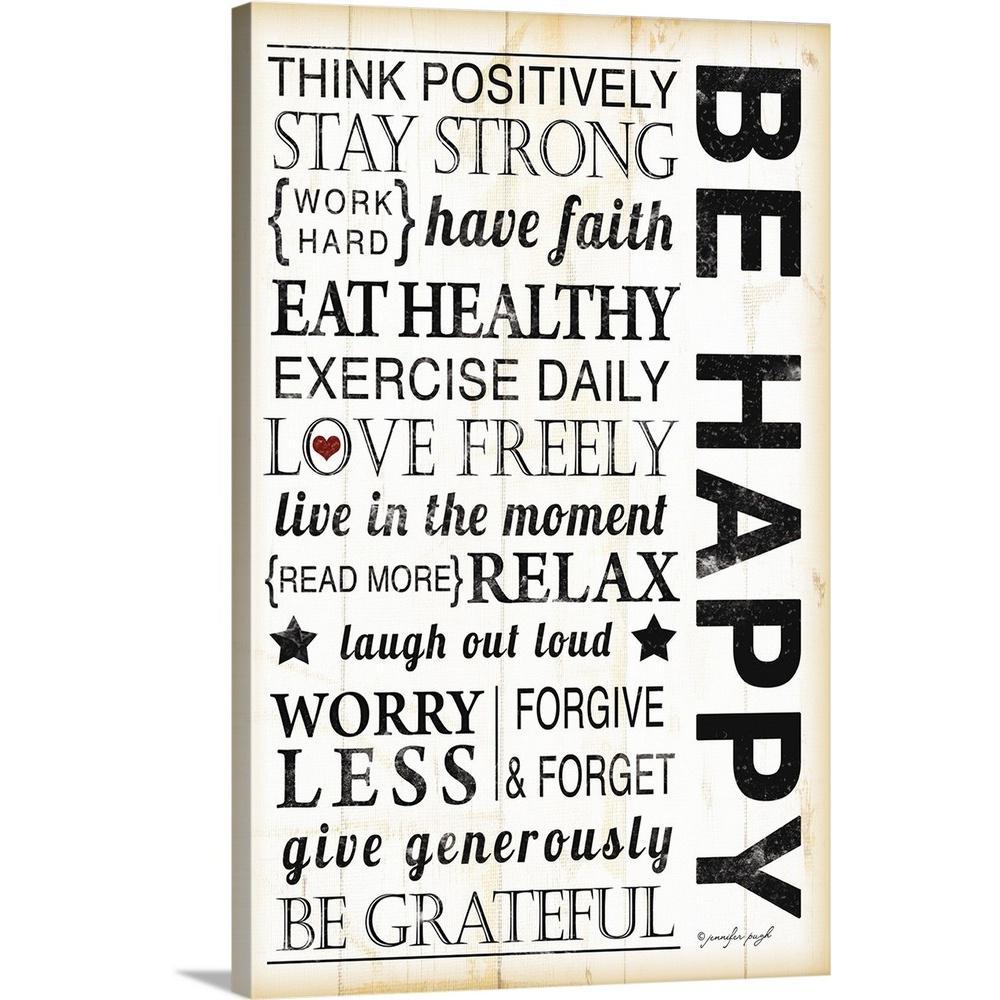 """16 in. x 24 in. """"Be Happy"""" by Jennifer Pugh Canvas Wall Art"""