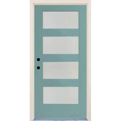 36 in. x 80 in. Elite Surf Satin Etch Glass Contemporary 4 Lite Painted Fiberglass Prehung Front Door with Brickmould