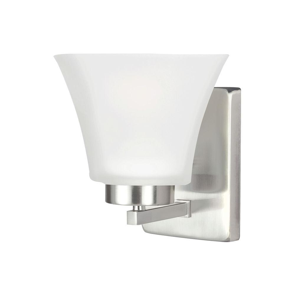 Sea Gull Lighting Bayfield 1 Light Brushed Nickel Wall Sconce 4111601 962 The Home Depot