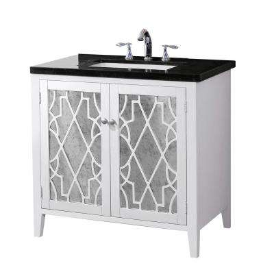 Evelyn 35 in. W x 21 in. D Vanity in White Finish with Marble Vanity Top in Black with White Basin