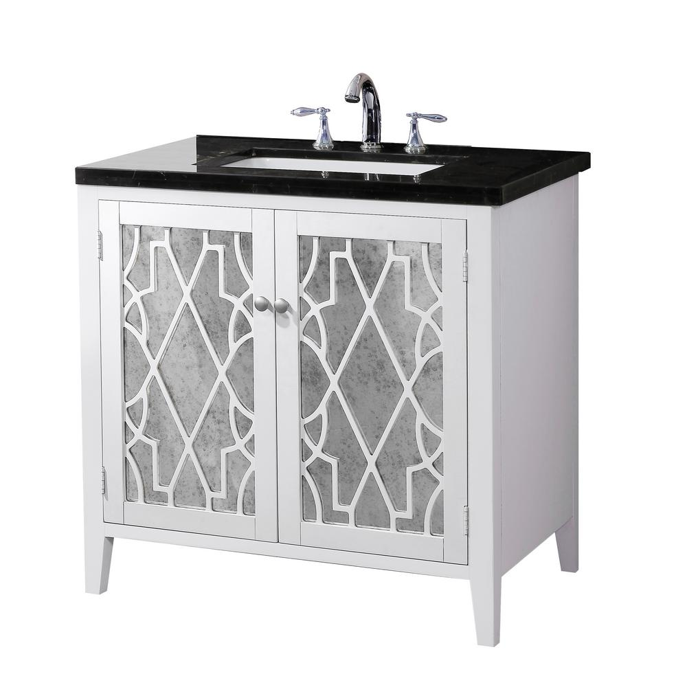 Crawford Evelyn Vanity White Finish Marble Vanity Top Black White Basin Product Picture
