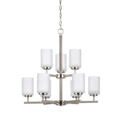 Oslo 9-Light Brushed Nickel Chandelier with LED Bulbs