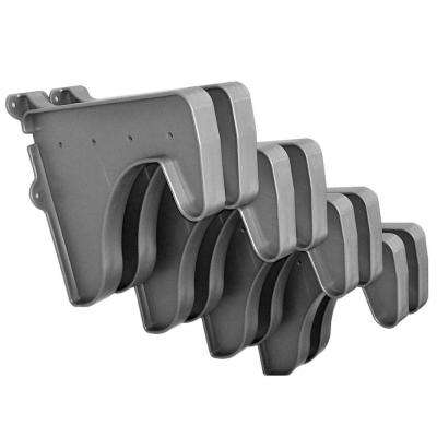 12 in. x 10 in. Silver Set of 8-Side End Brackets for Hanging Rod and Shelf (for mounting to back wall/connecting)