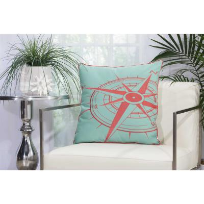 Compass Aqua and Coral Geometric Stain Resistant Polyester 20 in. x 20 in. Throw Pillow