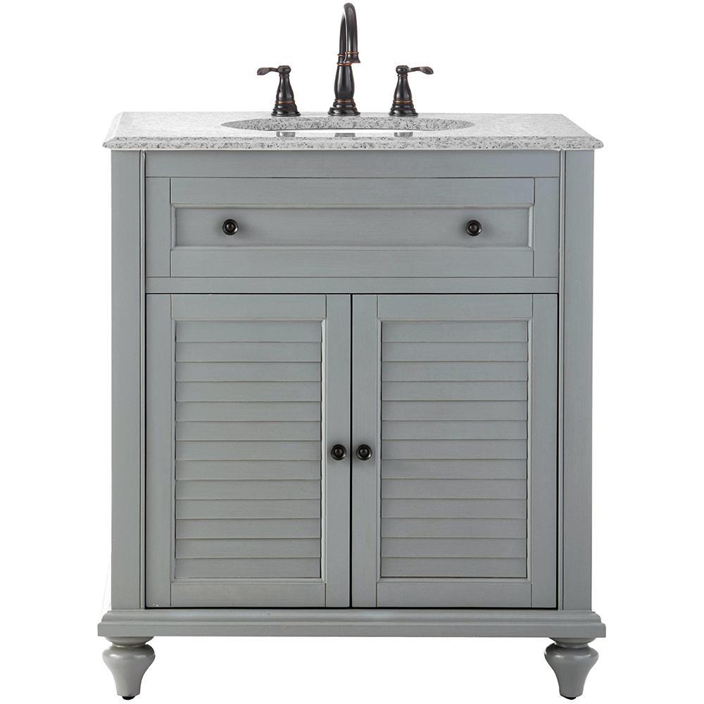 Hamilton 31 in. W x 22 in. D Bath Vanity in Grey with Granite Vanity Top in Grey