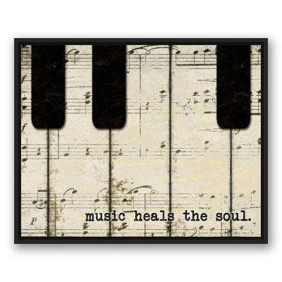 24 in. x 30 in. ''Piano Keys And Music'' Printed Framed Canvas Wall Art