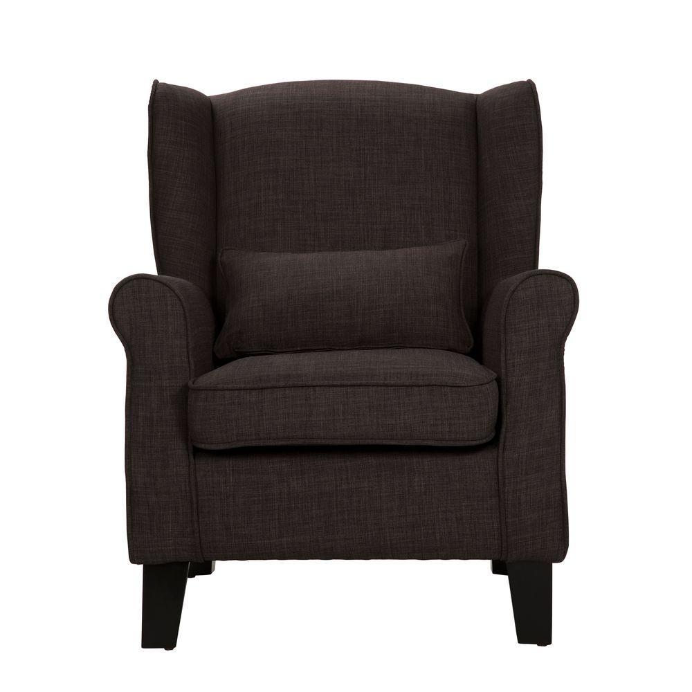 HomeSullivan Pradera Charcoal Linen Wing Back Arm Chair 40E194C-DGL3A