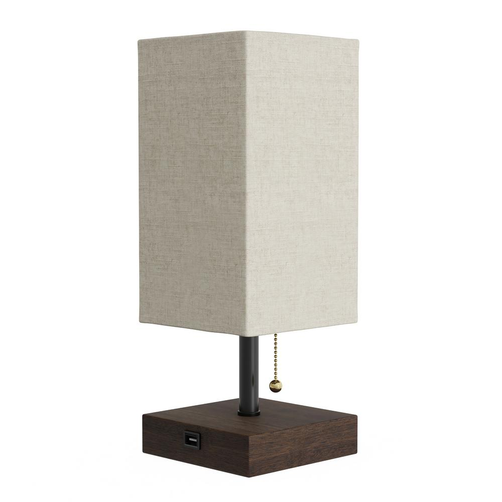Lavish Home 14 In Dark Brown Modern Rectangle Usb Led Table Lamp With Wood Base And Natural Linen Shade