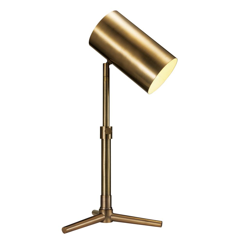 Charming Hollywood 20.5 In Antique Brass Desk Lamp