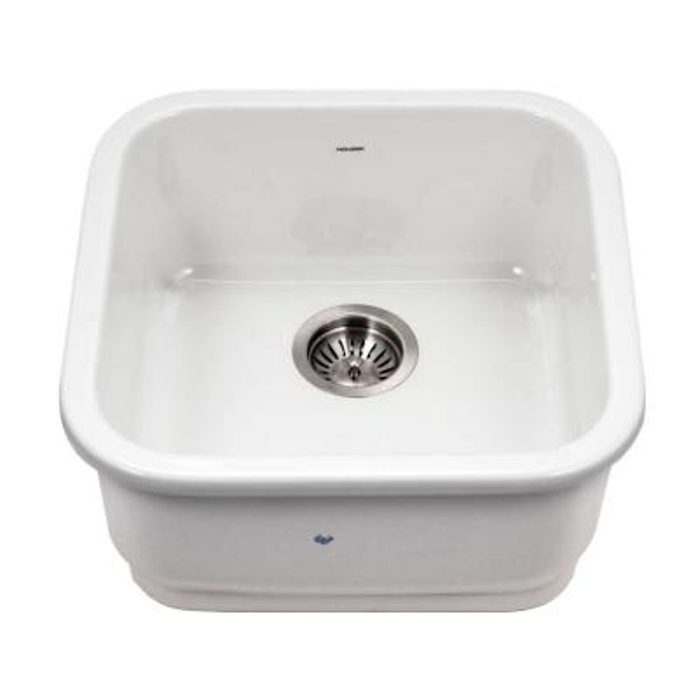 Platus White Fireclay 19 in. Undermount Bar Sink