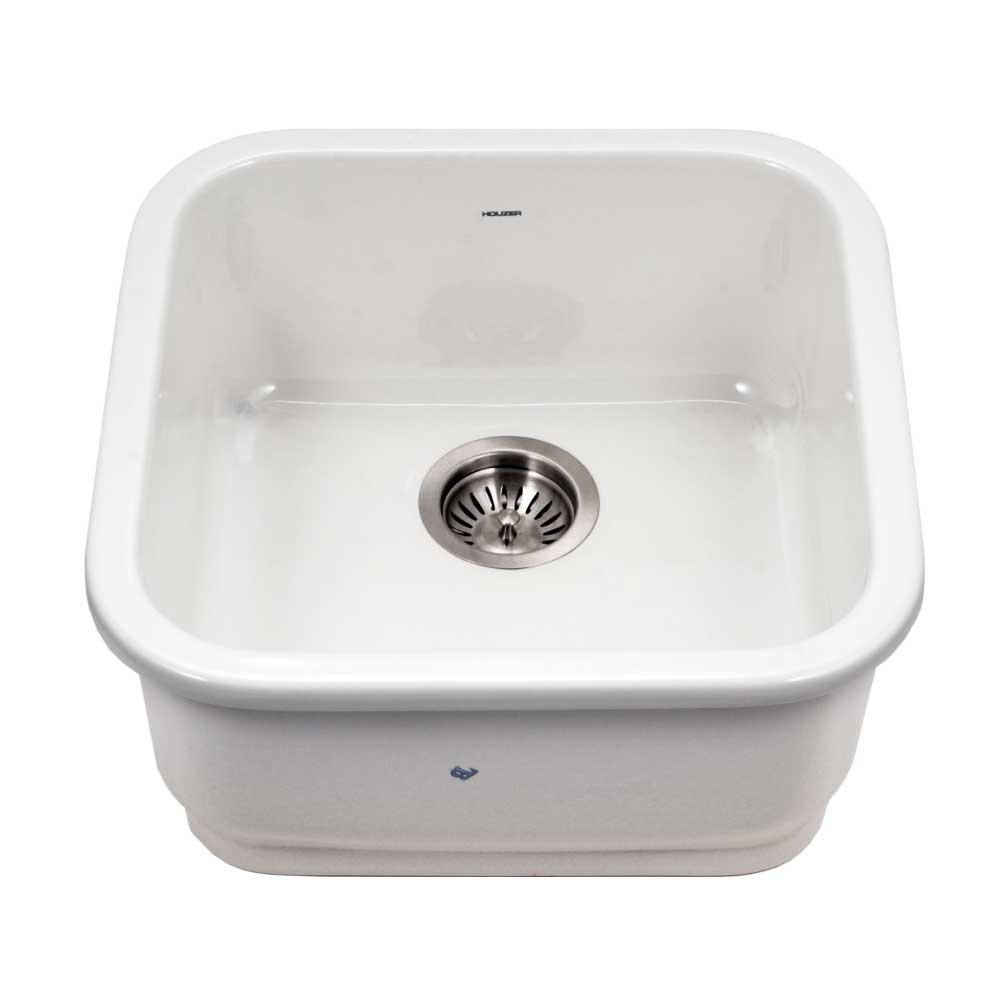 HOUZER Platus Undermount Fireclay 19 in. Single Bowl Bar Sink in White with Square Basin