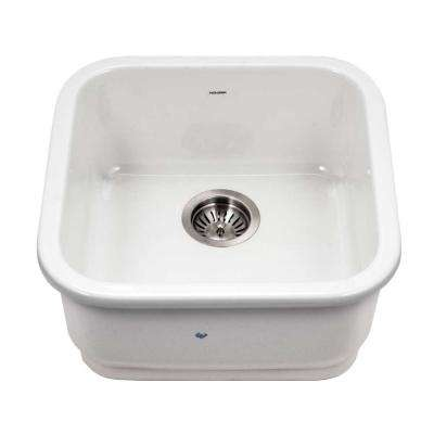 Platus Undermount Fireclay 19 in. Single Bowl Bar Sink in White with Square Basin