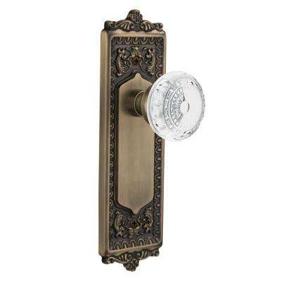 Egg and Dart Plate 2-3/8 in. Backset Antique Brass Passage Hall/Closet Crystal Meadows Door Knob