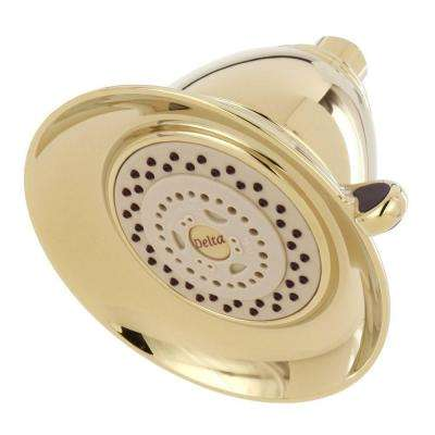 Victorian 3-Spray 5-1/2 in. Touch-Clean Shower Head in Polished Brass