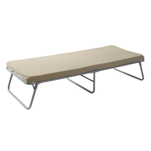 Cottage Cot 75 in. x 31 in. Steel Frame Memory Foam Mattress Cot