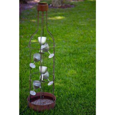 44 in. Tall Metal Bottle Shaped Fountain with Tiering Wine Glasses