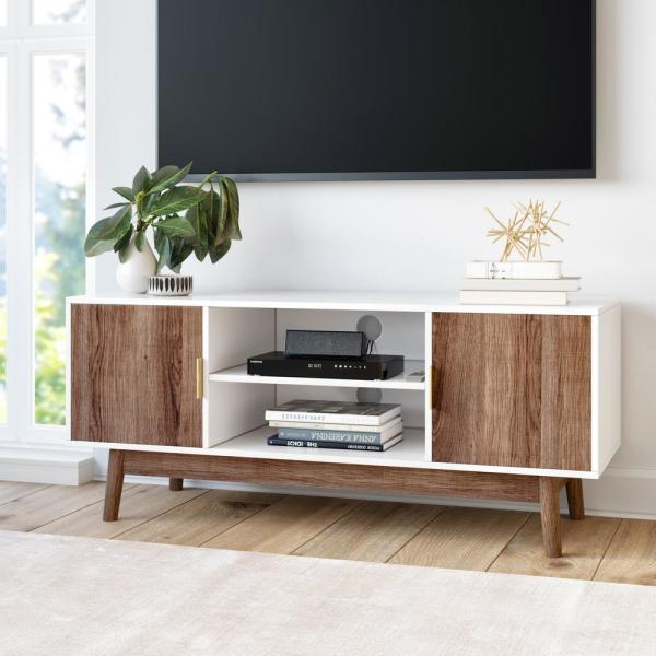 Nathan James Wesley White Scandinavian TV Stand with Rustic Oak Cabinet