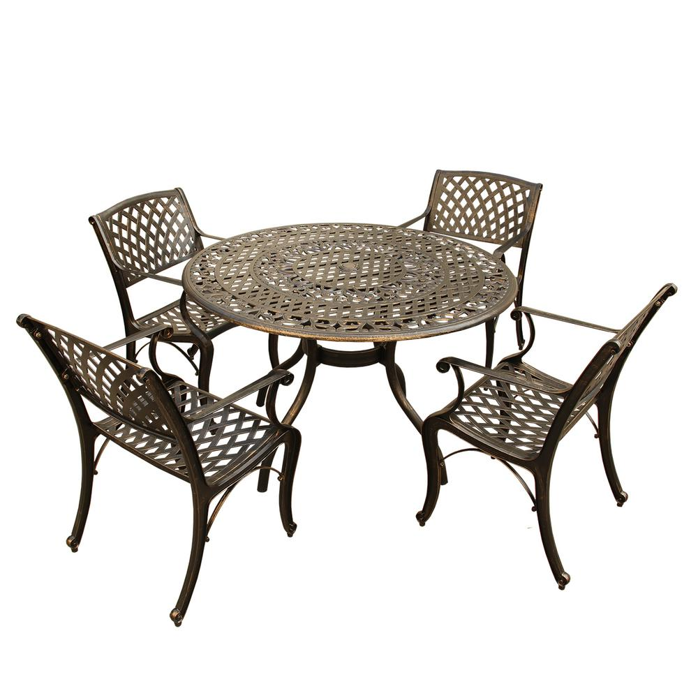 Unbranded Ornate Traditional And Modern Contemporary 5 Piece Bronze Aluminum Outdoor Dining Set Hd2666 1016 4 Bz The Home Depot