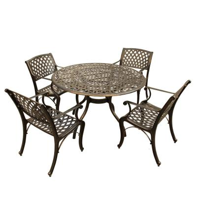 Ornate Traditional and Modern Contemporary 5-Piece Bronze Aluminum Outdoor Dining Set