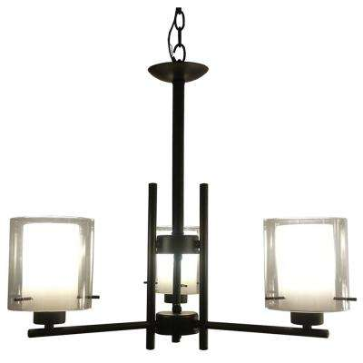 3-Light Black Chandelier with Flat White and Clear Glass Shade