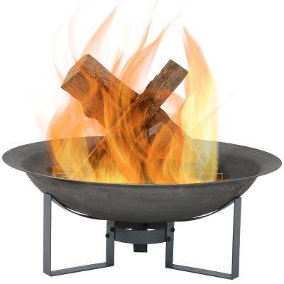 23 in. x 8.5 in. Round Cast Iron Wood Modern Outdoor Fire Pit Bowl in Gray with Stand