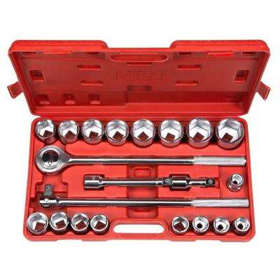 3/4 in. Drive 19-50 mm 6-Point Shallow Socket Set (21-Piece)