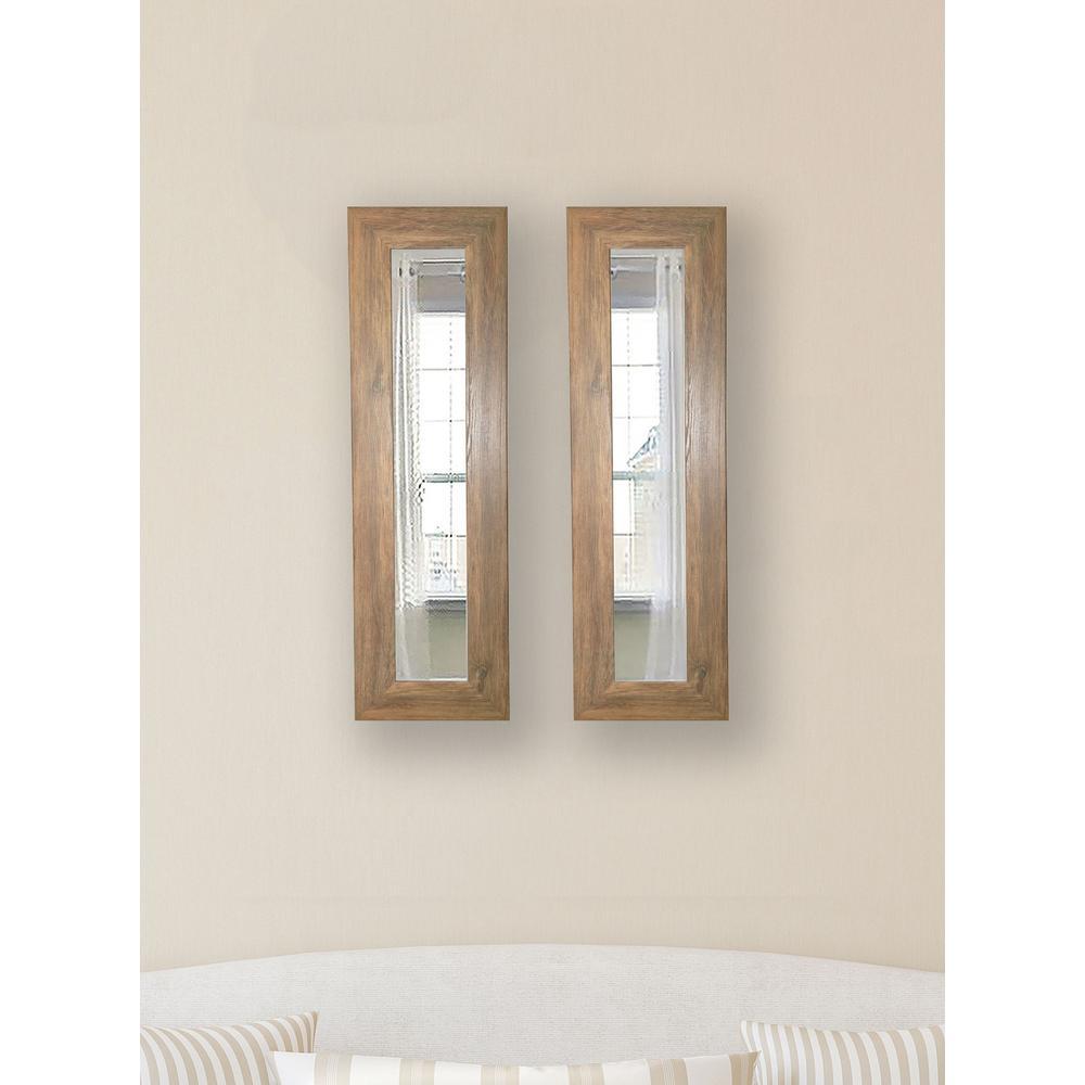 11.5 inch x 29.5 inch Brown Barnwood Vanity Mirror (Set of 2-Panels) by