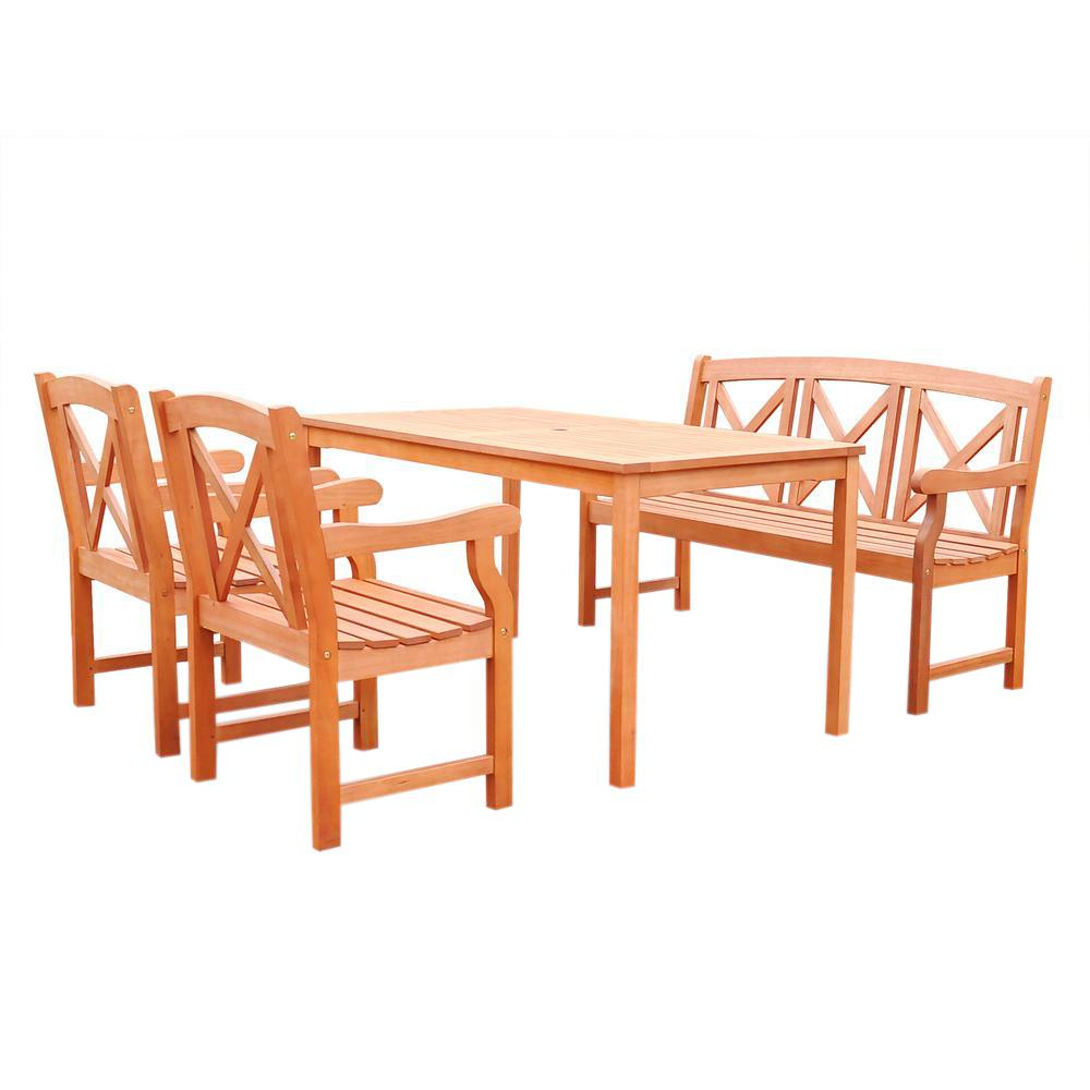 Vifah malibu 4 piece rectangle patio dining set v98set53 for Outdoor dining sets for 4