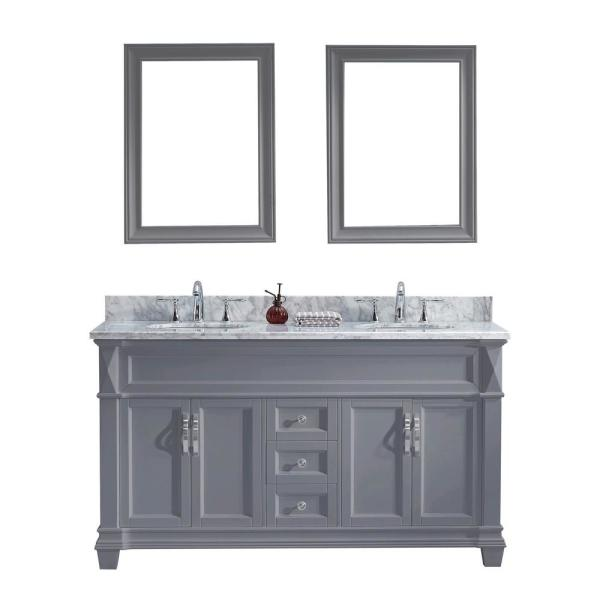 Victoria 60 in. W Bath Vanity in Gray with Marble Vanity Top in White with Round Basin and Mirror