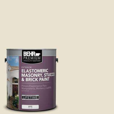 1 gal. #MS-33 Eggshell White Elastomeric Masonry, Stucco and Brick Exterior Paint