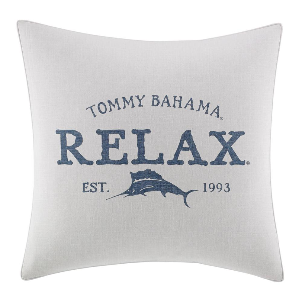 Raw Coast Blue Relax 20 in. x 20 in. Throw Pillow, Medium Blue Add a touch of style to your bedding ensemble with the Raw Coast Relax Throw Pillow. The gorgeous white throw pillow is printed with the label's signature marlin and mantra to  Relax  in calming blue. Dimensions: (20 in. x 20 in.). Color: Medium Blue.
