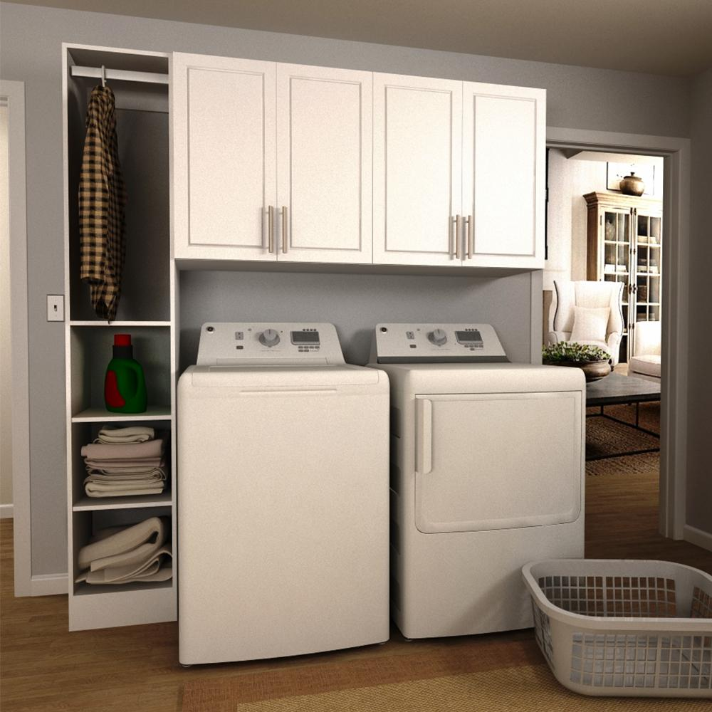 modifi madison 75 in w white tower storage laundry cabinet kit enl75b mpw the home depot. Black Bedroom Furniture Sets. Home Design Ideas