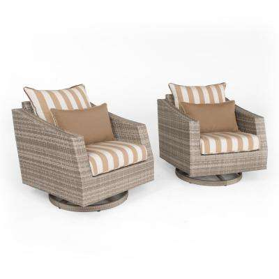 Cannes 2-Piece All-Weather Wicker Patio Motion Club Chair Seating Set with Maxim Beige Cushions