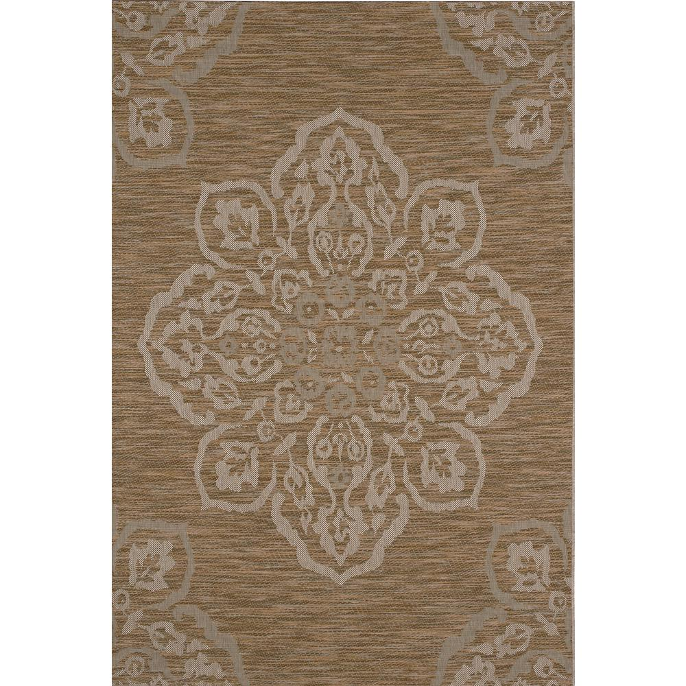 Hampton bay medallion mustard 5 ft x 7 ft indoor outdoor for Indoor out door rugs