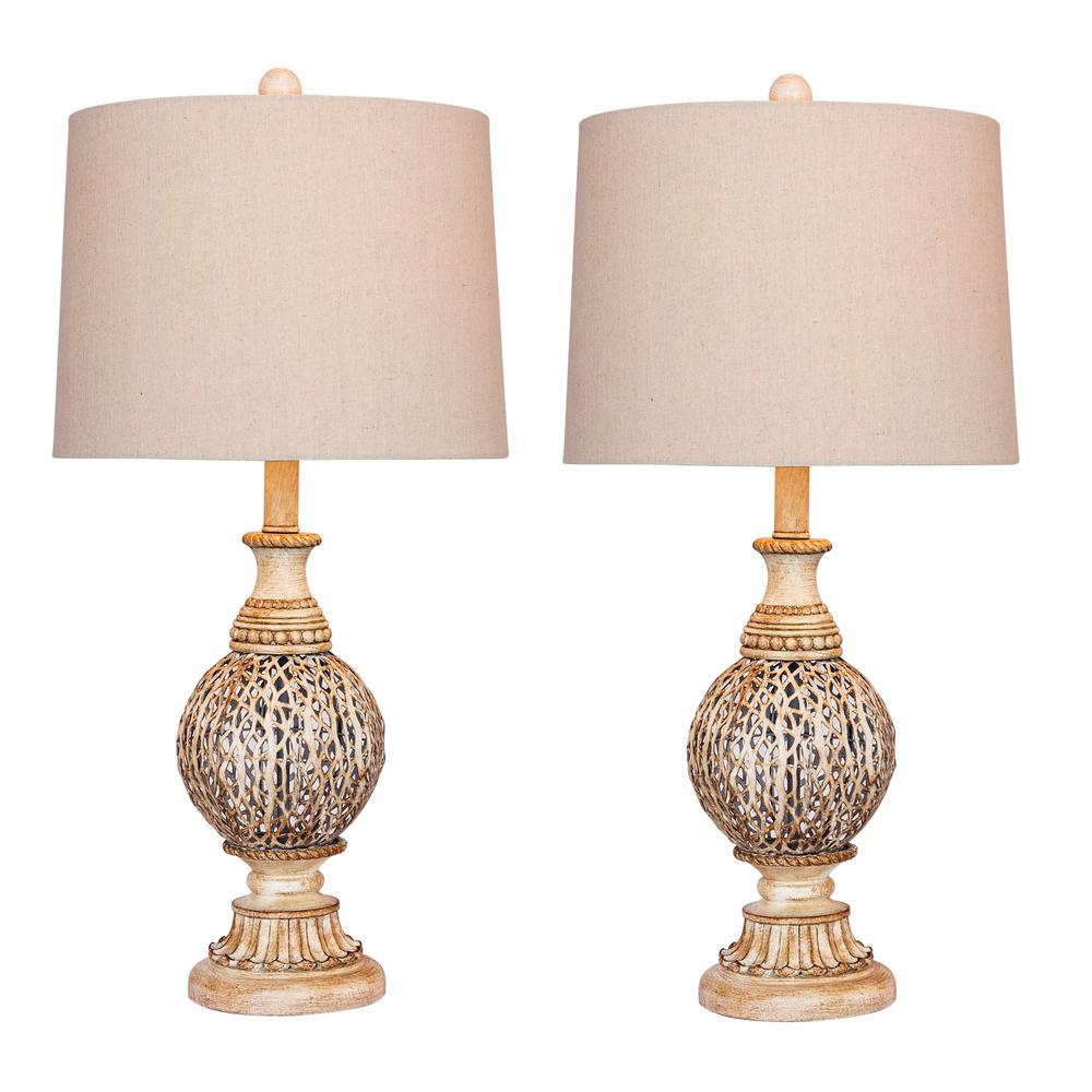 Antique White Moroccan Branch Urn Metal Table Lamps