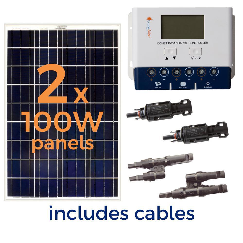 Grape Solar 200 Watt Off Grid Solar Panel Kit Gs 200 Kit The Home Depot