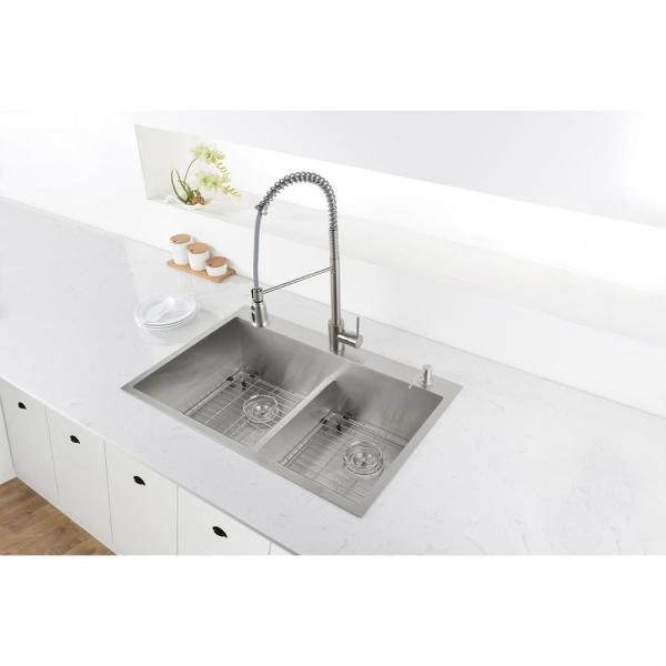 Ruvati 33 In X 22 In Double Bowl Drop In 16 Gauge Stainless Steel Kitchen Sink Rvh8051 The Home Depot