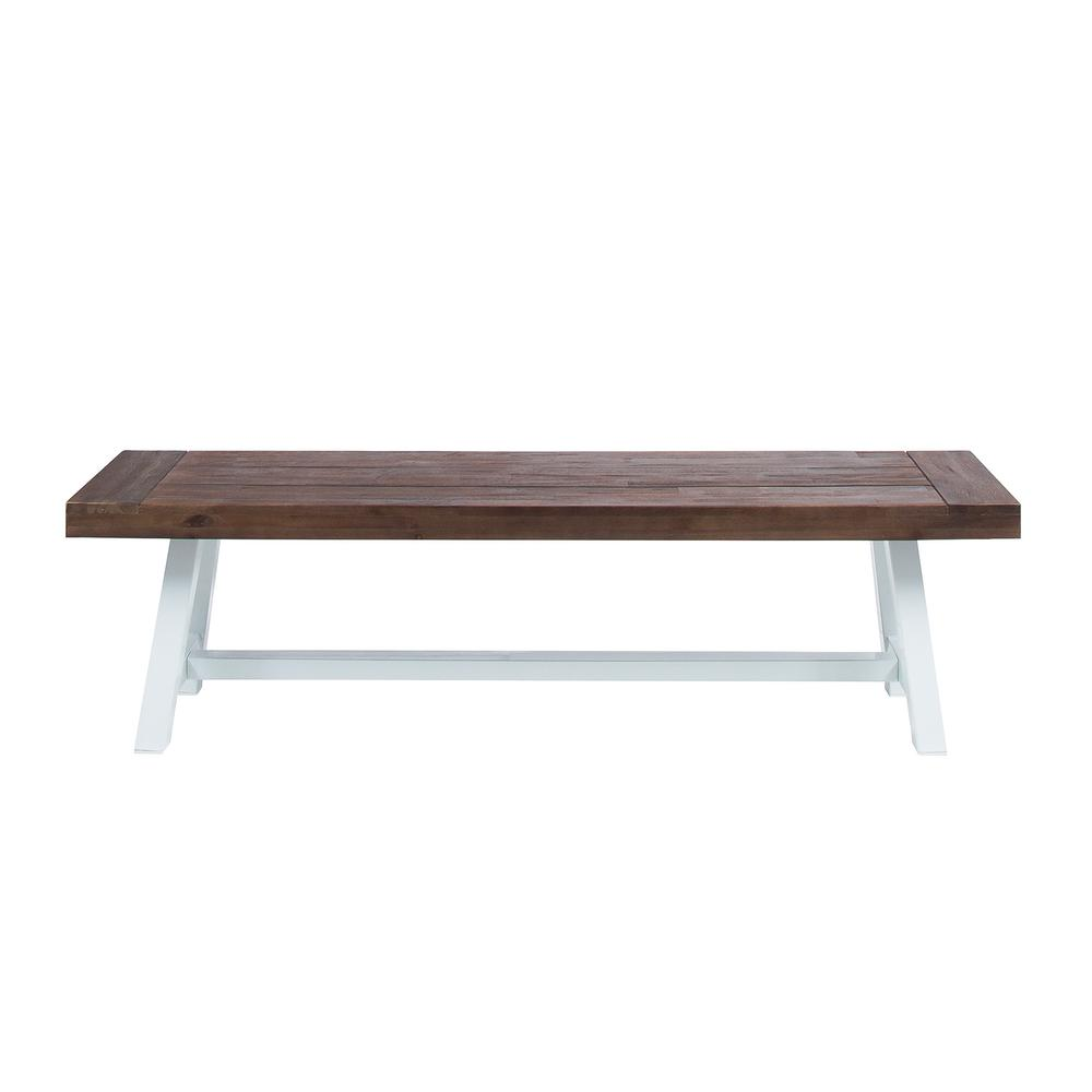 Carlisle Dark Brown Wood and White Metal Outdoor Dining Bench