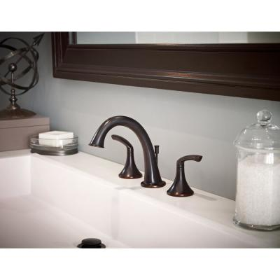 Minimalist 8 in. Widespread 2-Handle Bathroom Faucet with Drain Assembly in Seasoned Bronze