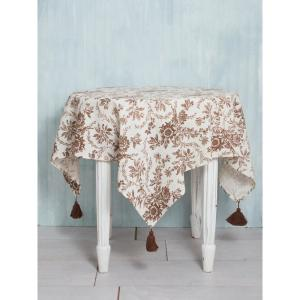 48 in. x 48 in. Felicity Brown Floral Tablecloth