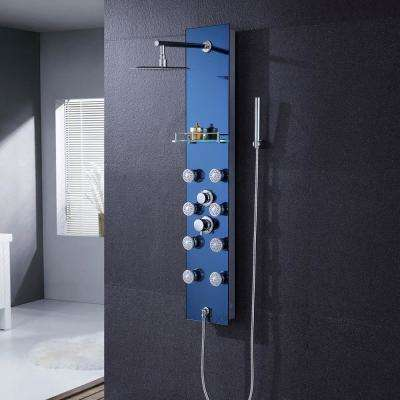 "51"" Aluminum Safety Aqua Tempered Glass Rainfall Shower Panel Tower Rain Massage System Faucet with Jets & Hand Shower"