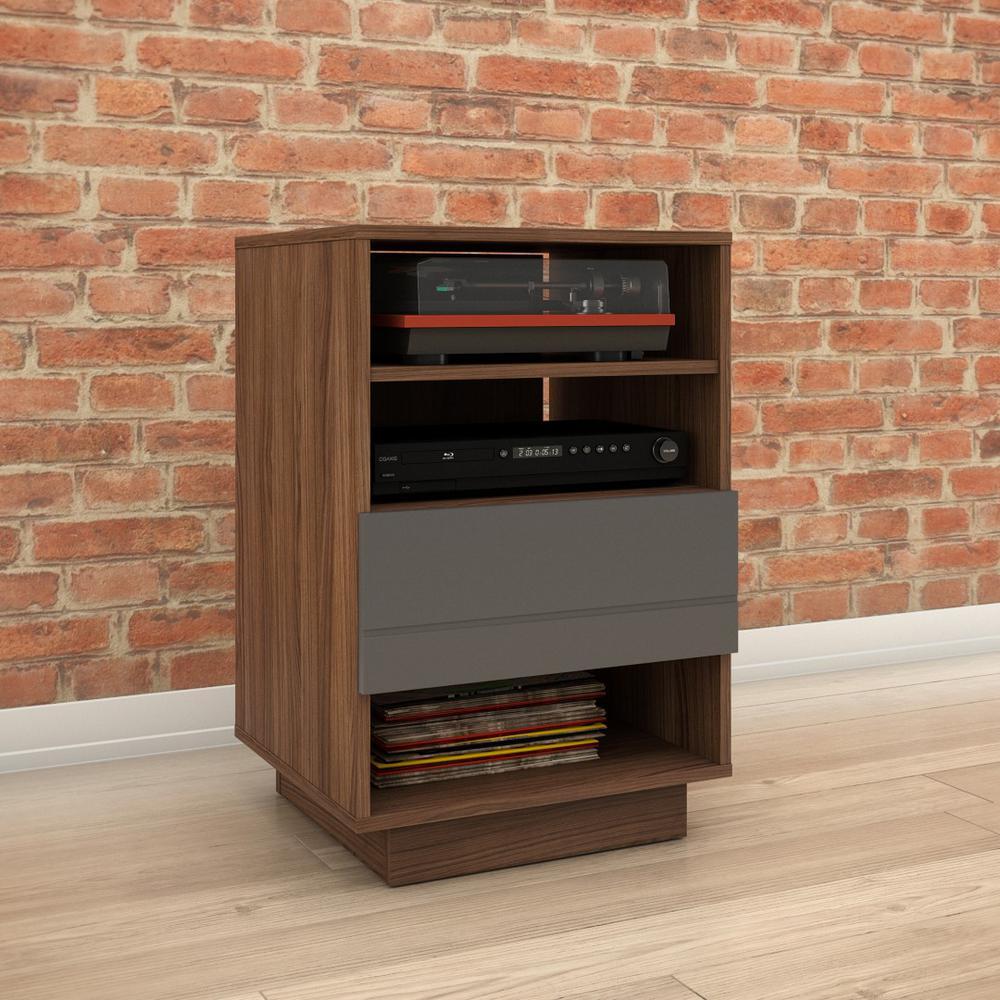 Radar Walnut and Charcoal 1-Drawer Audio Cabinet
