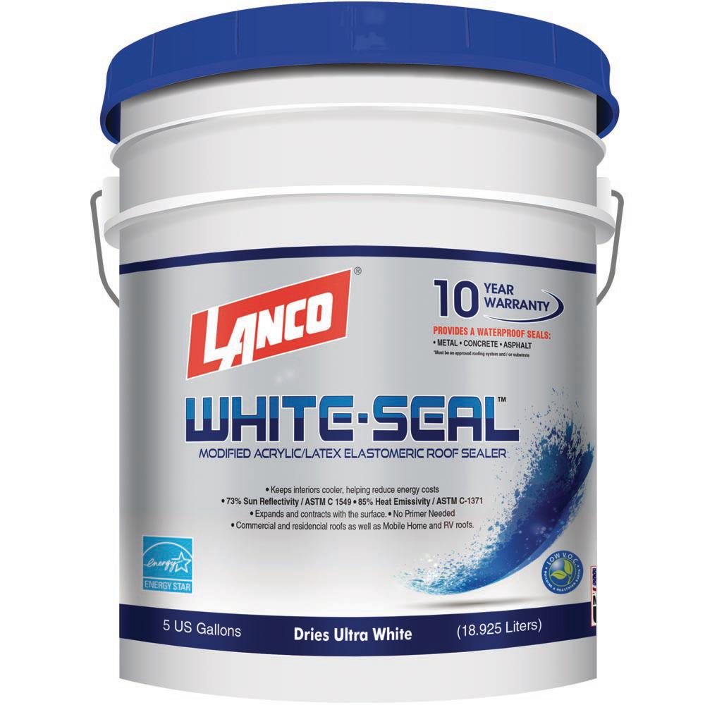 5 Gal White Roof Seal Elastomeric Rubberized Sealer