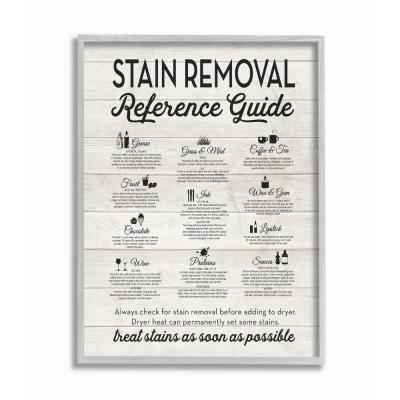 """11 in. x 14 in. """"Stain Removal Reference Guide Typography"""" by Lettered and Lined Framed Wall Art"""