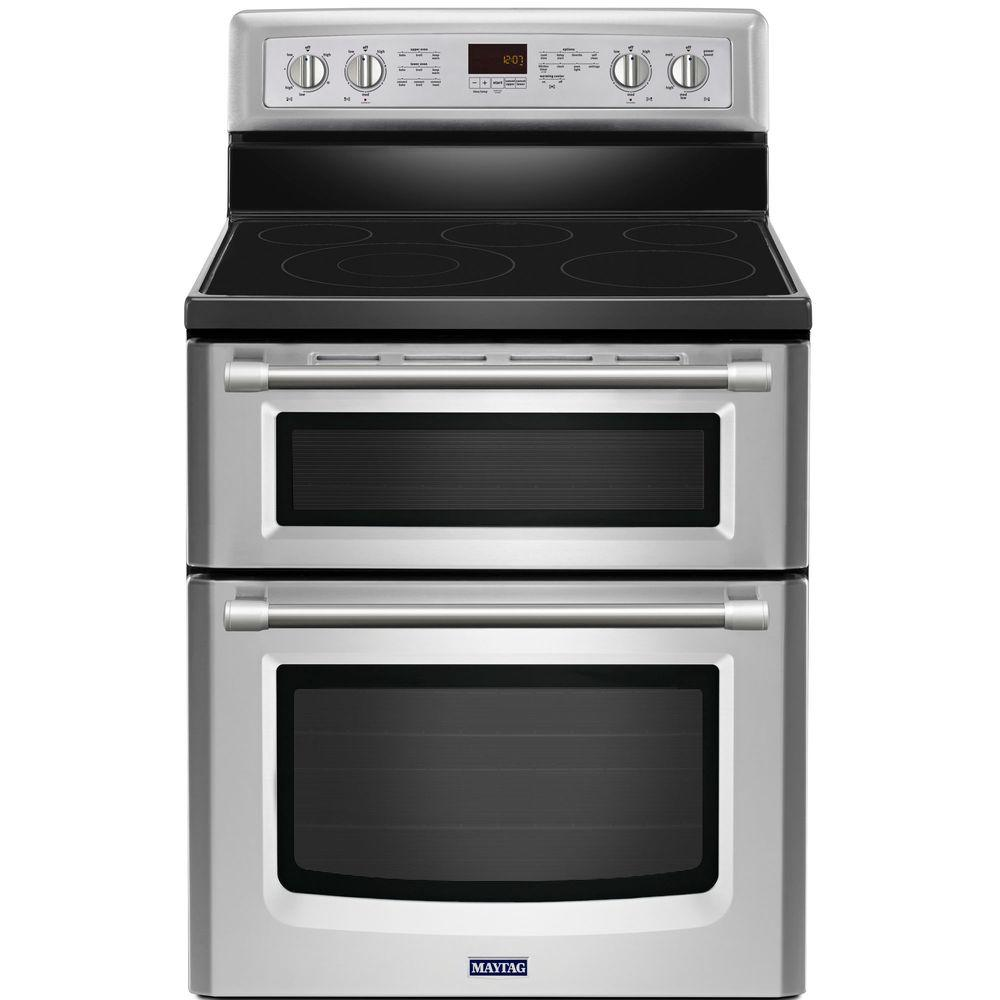 Maytag Gemini 6.7 cu. ft. Double Oven Electric Range with Self-Cleaning Convection Oven in Stainless Steel