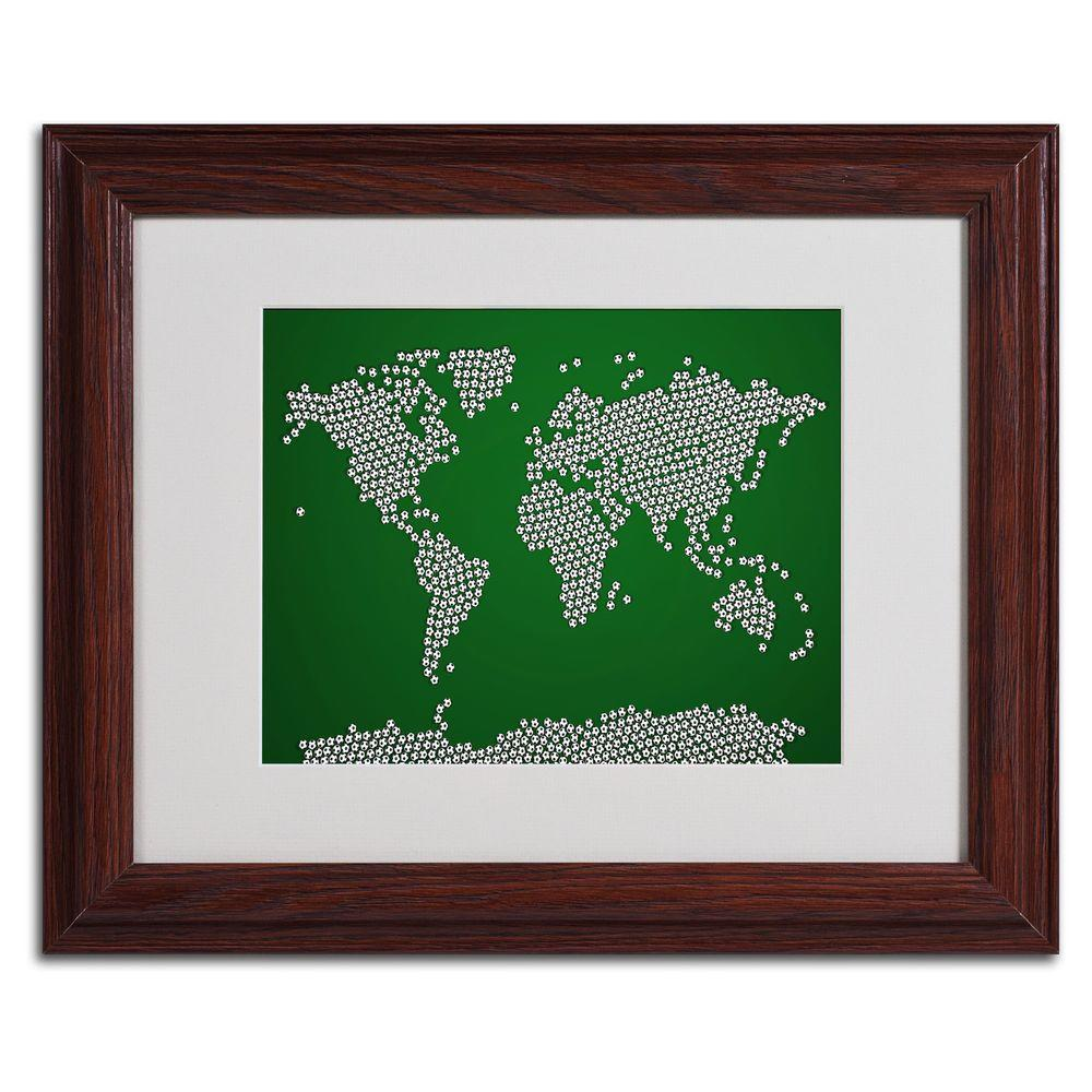 11 in. x 14 in. Soccer Balls World Map Matted Framed