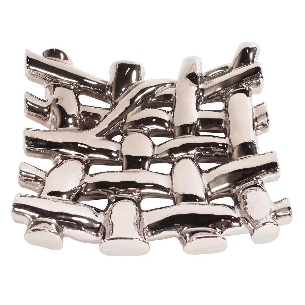 Nickel Plated Crisscross Decorative Bowl