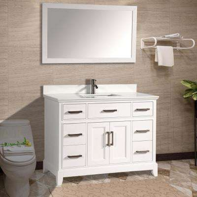 Genoa 60 in. W x 22 in. D x 36 in. H Bath Vanity in White with Vanity Top in White with White Basin and Mirror